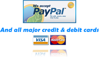 We accept payment by major credit and debit cards and PayPal